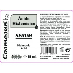 SERUM REJUVENECEDOR, ACIDO HIALURONICO CONCENTRADO 15ml.